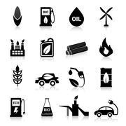 Bio Fuel Icons Black Stock Illustration