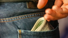 Cash in the back pocket Stock Footage