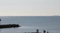 Sea coast fishers Stock Footage
