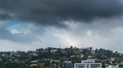 Stormy clouds rolling over Hollywood Hills. Los Angeles California 4K Timelapse. Stock Footage