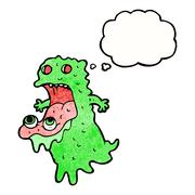 Cartoon gross ghost with thought bubble Stock Illustration