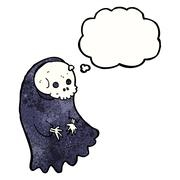 Stock Illustration of cartoon spooky ghoul with thought bubble