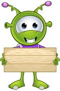 little green alien - stock illustration