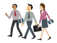 Businesspeople walking and talking Stock Illustration