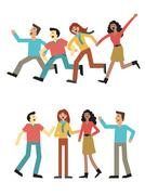 Teenager group Stock Illustration