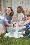 A family in their garden, washing a dog in a tub. Kuvituskuvat
