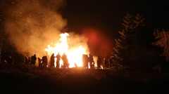 new years eve family bonfire in Icelandic forest, Reykjavik, Iceland - stock footage
