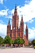 Famous markt kirche in wiesbaden, a brick building in neo-gothic style Stock Photos