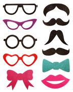 Party accessories, eyeglasses, mustache, isolated on white Stock Photos