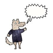 Stock Illustration of cartoon wolf businessman with speech bubble