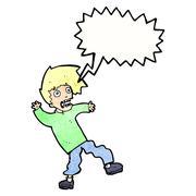 Cartoon terrified man with speech bubble Stock Illustration