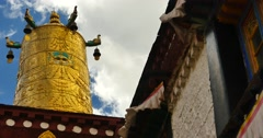 4k closeup of The Jokhang Temple In Lhasa,Tibet,white clouds in blue sky. Stock Footage