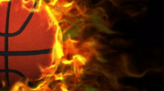 Fiery Basket Ball Background Stock Footage