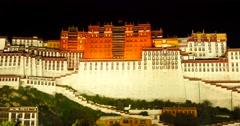 4k Brightly lit Potala at night in Lhasa,Tibet. Stock Footage