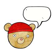 Stock Illustration of cartoon teddy bear hat with speech bubble