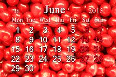 Calendar for june of 2015 year with berries of prunus tomentosa Stock Illustration