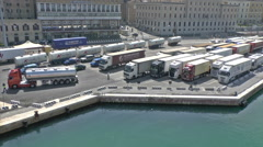 Trucks loading on a ferry Stock Footage