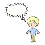 Stock Illustration of cartoon surprised man with speech bubble