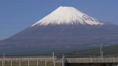 Stock Video Footage of Shinkansen Train Passes Mount Fuji in Japan