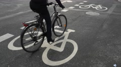 0611 UHD Bike paths in Town Stock Footage