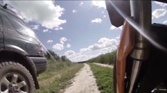 Enduro tourer from wheel Stock Footage