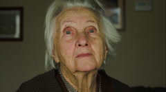 Portrait Of A 99 Years Old Woman Looking At The Camera, Senescence, Nostalgia Stock Footage