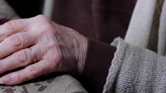 Close Up Of Very Old Woman Hands Flipping Through Photo Album, Pan - stock footage