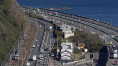 Tokaido Line Train Fuji-Yui Bypass, and Tomei Expressway,in Japan Stock Footage
