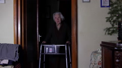 99 Years Old Woman With Walker, Very Old Person, Disabled Old Woman - stock footage