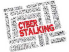 3d image cyber stalking issues concept word cloud background - stock illustration