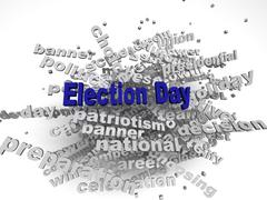 3d image election day issues concept word cloud background Stock Illustration