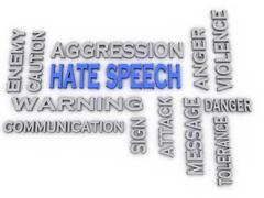 3d image hate speech issues concept word cloud background Stock Illustration