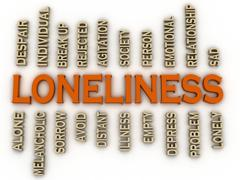 3d imagen loneliness issues concept word cloud background Stock Illustration