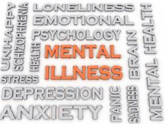 3d image mental illness issues concept word cloud background Stock Illustration