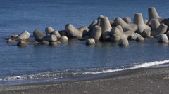 Concrete Tetrapods on Beach in Japan Stock Footage