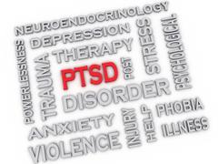 3d image ptsd - posttraumatic stress disorder issues concept word cloud backg Stock Illustration