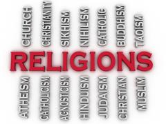 3d image major religions of the world issues concept word cloud background Stock Illustration