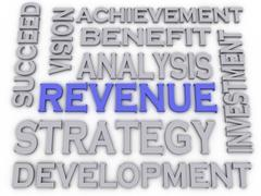 3d imagen revenue  issues concept word cloud background Stock Illustration