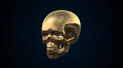 Metal Cyber Human skull Gold Loopable. Alpha matte Stock Footage