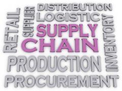 Stock Illustration of 3d imagen supply chain  issues concept word cloud background