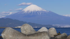Mount Fuji and Concrete Tetrapods in Japan Stock Footage