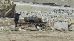 Man picking loading trash in huge landfill Stock Footage