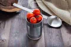 Tomatoes in a preserve tin Stock Photos
