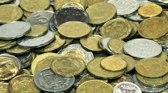 Business and Financial Background of Falling Coins. HD 720p Stock Footage