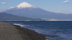Mount Fuji and Beach at Miho no Matsubara in Japan Stock Footage