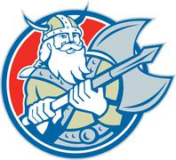 viking raider barbarian warrior axe circle retro - stock illustration