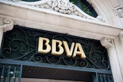 bbva - banco bilbao vizcaya argentaria headquarter in madrid - stock photo