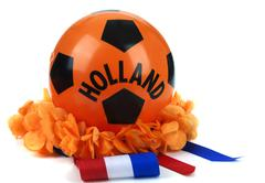 various attributes as fan fun materials to be used at the dutch soccer games - stock photo