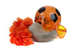 Various attributes as fan fun materials to be used at the dutch soccer games Stock Photos