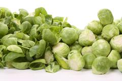 Pealed and unpeeled brussels sprouts, Stock Photos